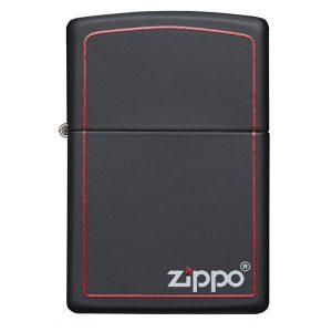 Bật lửa Zippo sơn tĩnh điện đen vạch đỏ 218ZB