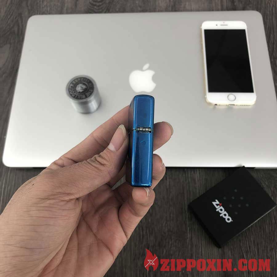 Bật lửa Zippo sơn tĩnh điện phủ bóng xanh dương 24534 2