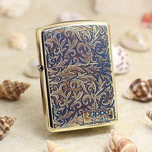 Bật lửa Zippo Limited khắc nổi hoa văn cổ màu đồng đốt ZBT-3-20A