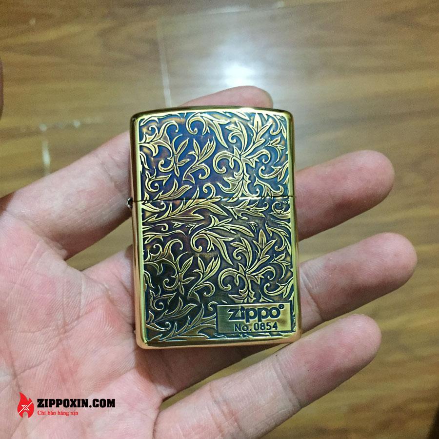Bật lửa Zippo Limited khắc nổi hoa văn cổ màu đồng đốt ZBT-3-20A-1