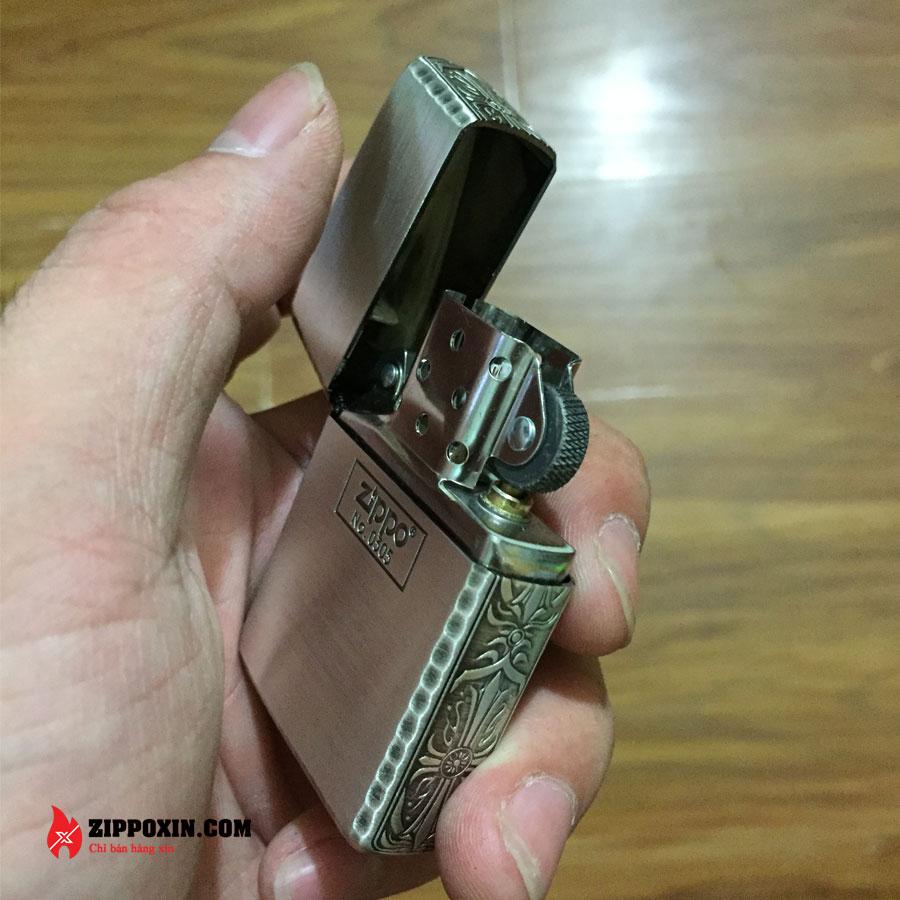 Bật lửa Zippo vỏ dày limited mạ bạc viền gõ búa ZBT-3-28C-6