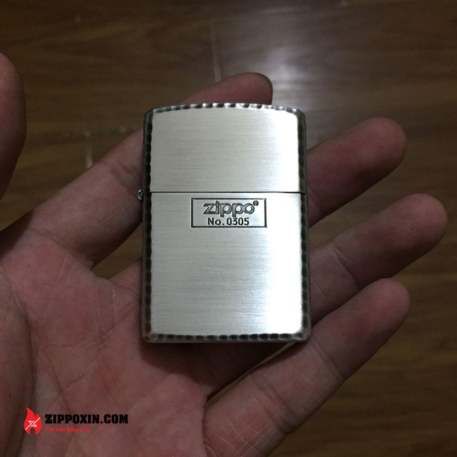Bật lửa Zippo vỏ dày limited mạ bạc viền gõ búa ZBT-3-28C-1