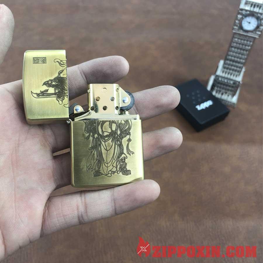 Hộp quẹt Zippo vỏ đồng khắc hình tướng Quan Vũ - ZP20 7