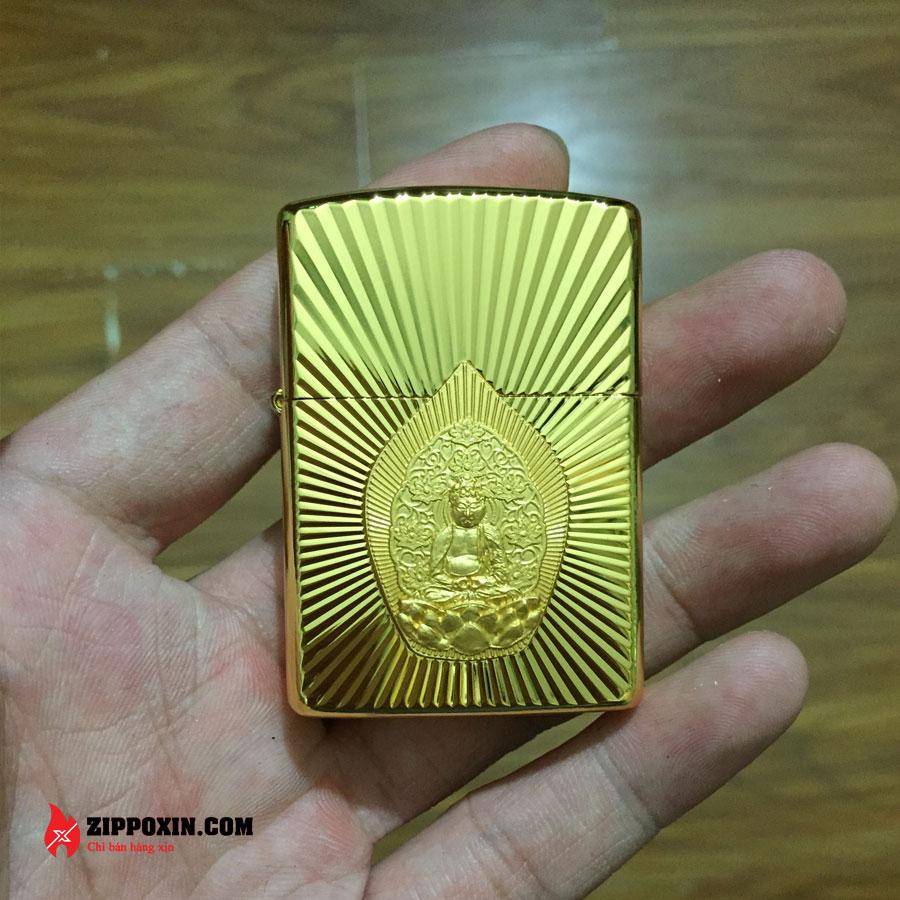 Bật lửa Zippo ốp phật tổ mạ vàng cao cấp ZBT-2-20B-1