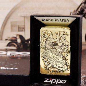 Zippo armor dập nổi họa tiết cá chép ZP-CC2