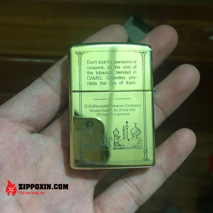 Zippo đồng khối họa tiết vỏ bao thuốc Camel - ZP32-2