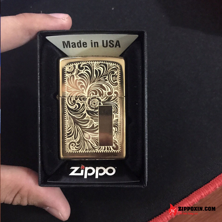 Bật lửa Zippo hoa văn Ý cổ venetian brass vàng 352B-1