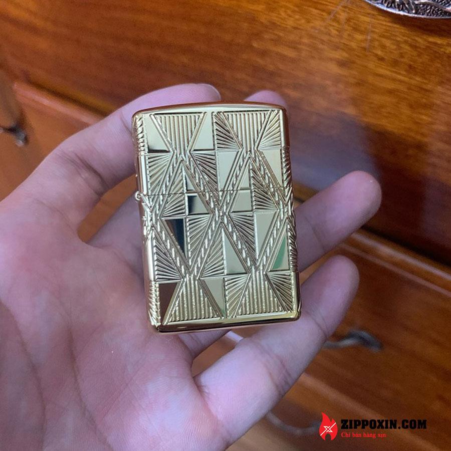 Zippo mạ vàng họa tiết kim cương khảm men đỏ 29671-2